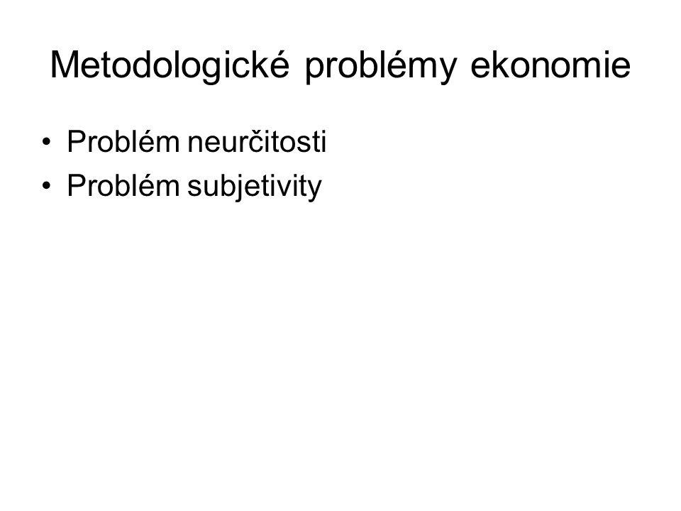 Metodologické problémy ekonomie Problém neurčitosti Problém subjetivity