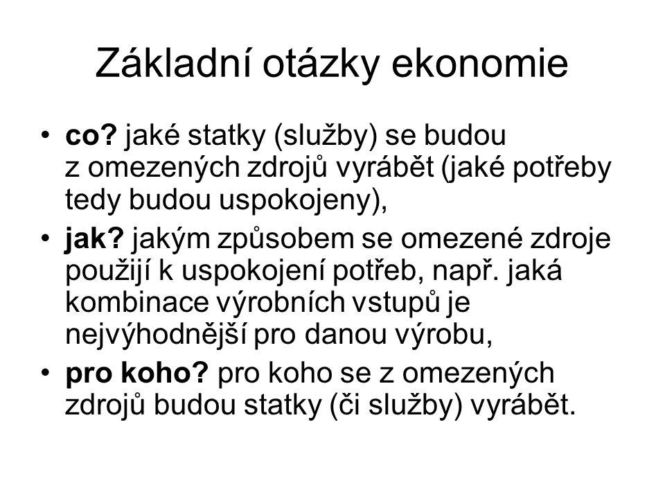 Základní otázky ekonomie co.
