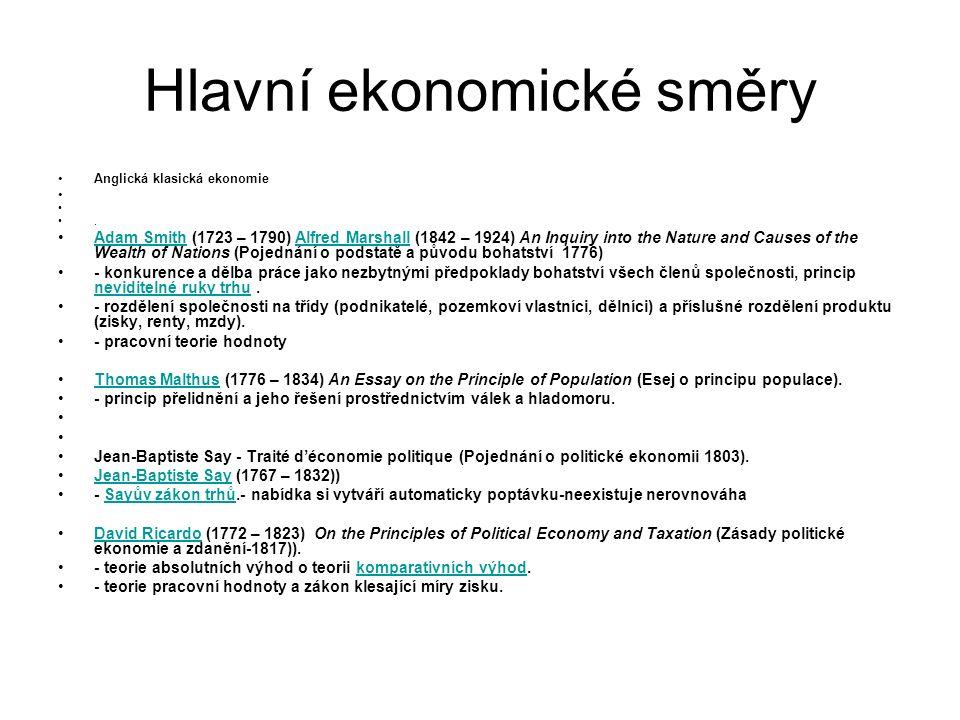 Hlavní ekonomické směry Anglická klasická ekonomie.