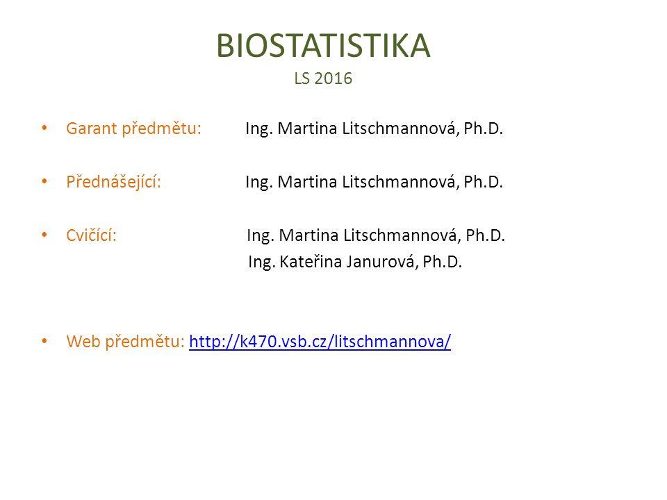 BIOSTATISTIKA LS 2016 Garant předmětu: Ing. Martina Litschmannová, Ph.D. Přednášející: Ing. Martina Litschmannová, Ph.D. Cvičící: Ing. Martina Litschm