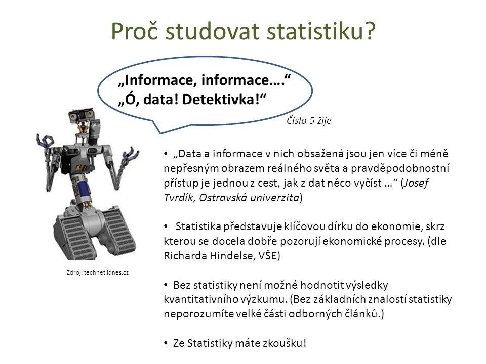 """Proč studovat statistiku? Zdroj: technet.idnes.cz """"Informace, informace…."""" """"Ó, data! Detektivka!"""" Číslo 5 žije """"Data a informace v nich obsažená jsou"""