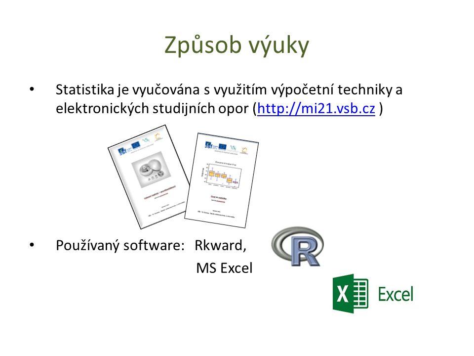 Způsob výuky Statistika je vyučována s využitím výpočetní techniky a elektronických studijních opor (http://mi21.vsb.cz )http://mi21.vsb.cz Používaný software: Rkward, MS Excel