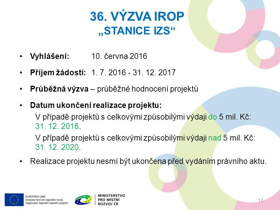 """36. VÝZVA IROP """"STANICE IZS 17 Vyhlášení:10. června 2016 Příjem žádostí:1."""