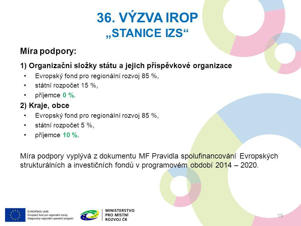 Míra podpory: 1) Organizační složky státu a jejich příspěvkové organizace Evropský fond pro regionální rozvoj 85 %, státní rozpočet 15 %, příjemce 0 %.