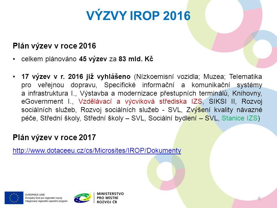 """36.VÝZVA IROP """"STANICE IZS 17 Vyhlášení:10. června 2016 Příjem žádostí:1."""