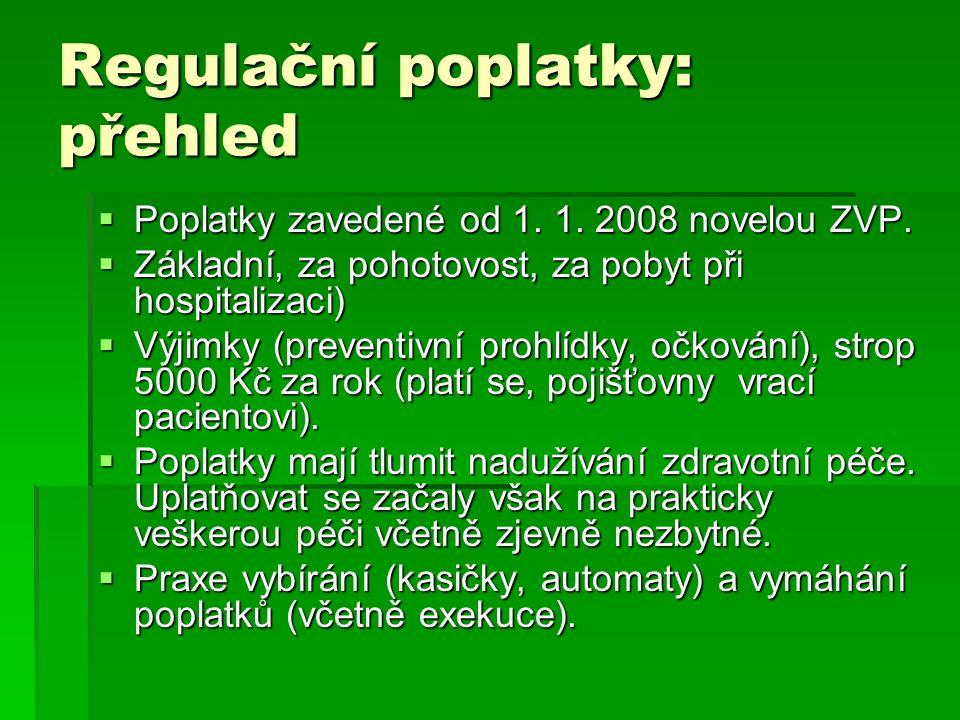 Regulační poplatky: přehled  Poplatky zavedené od 1. 1. 2008 novelou ZVP.  Základní, za pohotovost, za pobyt při hospitalizaci)  Výjimky (preventiv