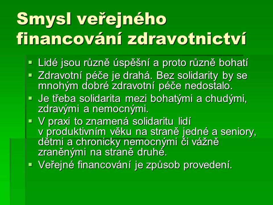 České veřejné financování zdravotní péče  České veřejné financování zdravotní péče na základě veřejného zdravotního pojištění:  Předpokládá to tak čl.