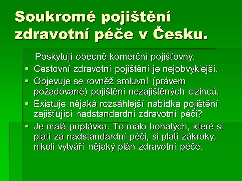 Soukromé pojištění zdravotní péče v Česku.Poskytují obecně komerční pojišťovny.