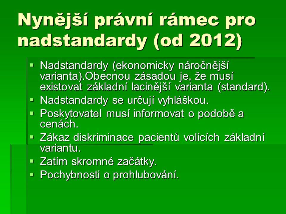 Nynější právní rámec pro nadstandardy (od 2012)  Nadstandardy (ekonomicky náročnější varianta).Obecnou zásadou je, že musí existovat základní lacinější varianta (standard).