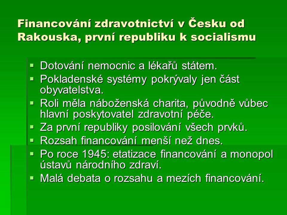 Financování zdravotnictví v Česku od Rakouska, první republiku k socialismu  Dotování nemocnic a lékařů státem.  Pokladenské systémy pokrývaly jen č