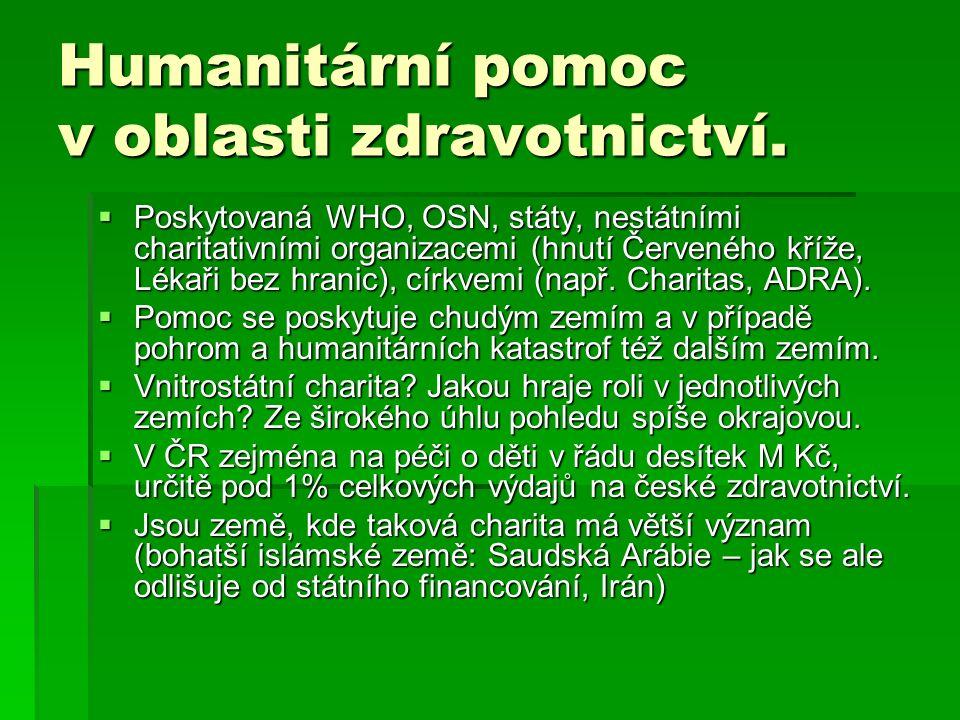 Humanitární pomoc v oblasti zdravotnictví.