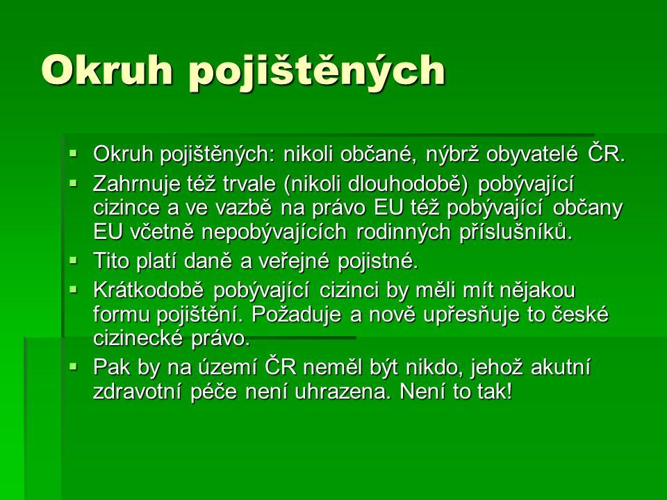 Okruh pojištěných  Okruh pojištěných: nikoli občané, nýbrž obyvatelé ČR.  Zahrnuje též trvale (nikoli dlouhodobě) pobývající cizince a ve vazbě na p