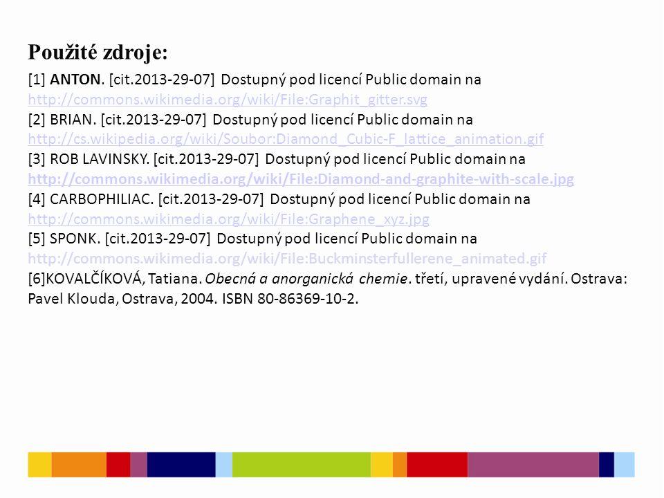 - Použité zdroje : [1] ANTON. [cit.2013-29-07] Dostupný pod licencí Public domain na.