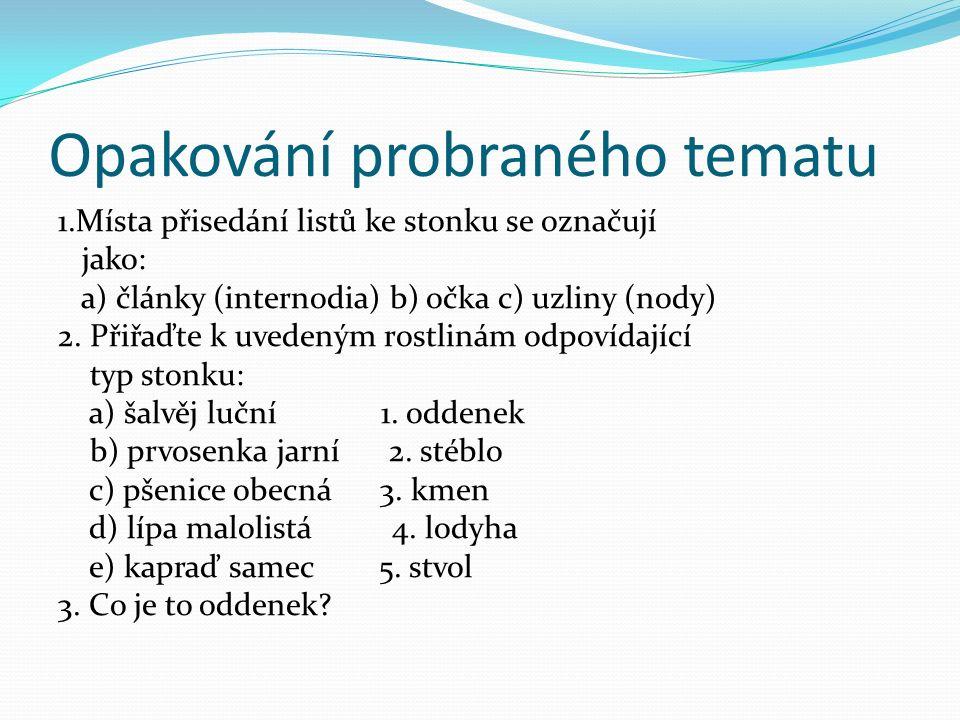 Opakování probraného tematu 1.Místa přisedání listů ke stonku se označují jako: a) články (internodia) b) očka c) uzliny (nody) 2.