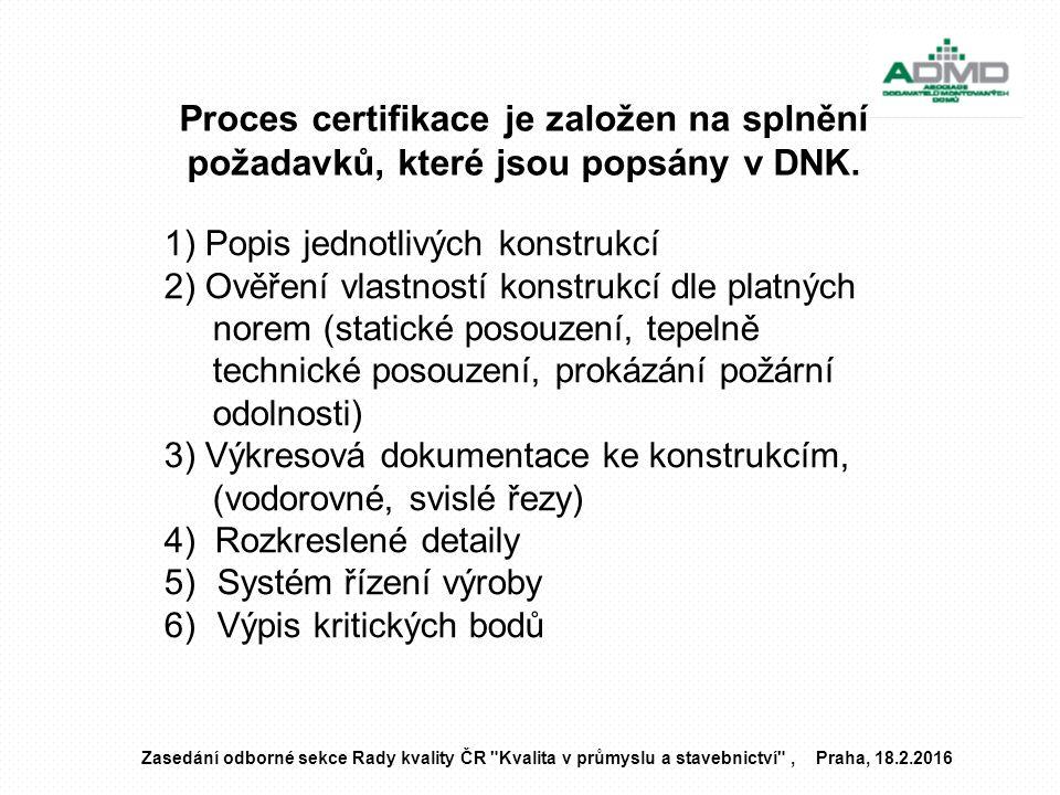 Proces certifikace je založen na splnění požadavků, které jsou popsány v DNK. Zasedání odborné sekce Rady kvality ČR