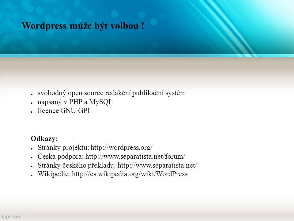 WordPress Ukázka prostředí