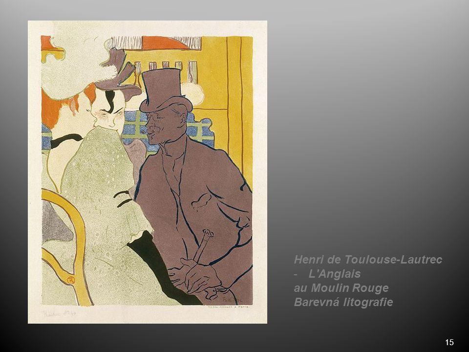 15 Henri de Toulouse-Lautrec -L Anglais au Moulin Rouge Barevná litografie