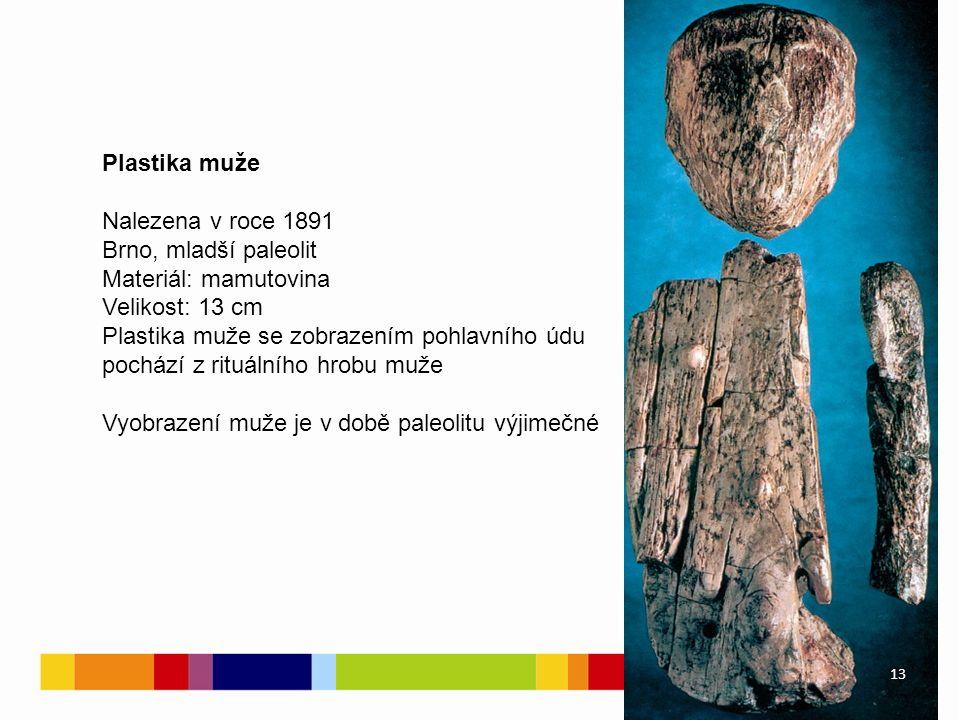 Plastika muže Nalezena v roce 1891 Brno, mladší paleolit Materiál: mamutovina Velikost: 13 cm Plastika muže se zobrazením pohlavního údu pochází z rituálního hrobu muže Vyobrazení muže je v době paleolitu výjimečné 13