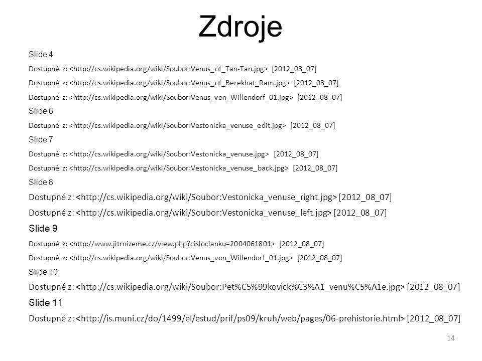 Zdroje Slide 4 Dostupné z: [2012_08_07] Slide 6 Dostupné z: [2012_08_07] Slide 7 Dostupné z: [2012_08_07] Slide 8 Dostupné z: [2012_08_07] Slide 9 Dostupné z: [2012_08_07] Slide 10 Dostupné z: [2012_08_07] Slide 11 Dostupné z: [2012_08_07] 14