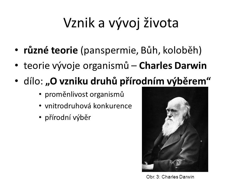 """Vznik a vývoj života různé teorie (panspermie, Bůh, koloběh) teorie vývoje organismů – Charles Darwin dílo: """"O vzniku druhů přírodním výběrem"""" proměnl"""
