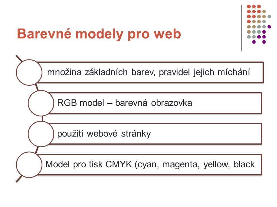 Barevné modely pro web množina základních barev, pravidel jejich míchání RGB model – barevná obrazovka použití webové stránky Model pro tisk CMYK (cyan, magenta, yellow, black