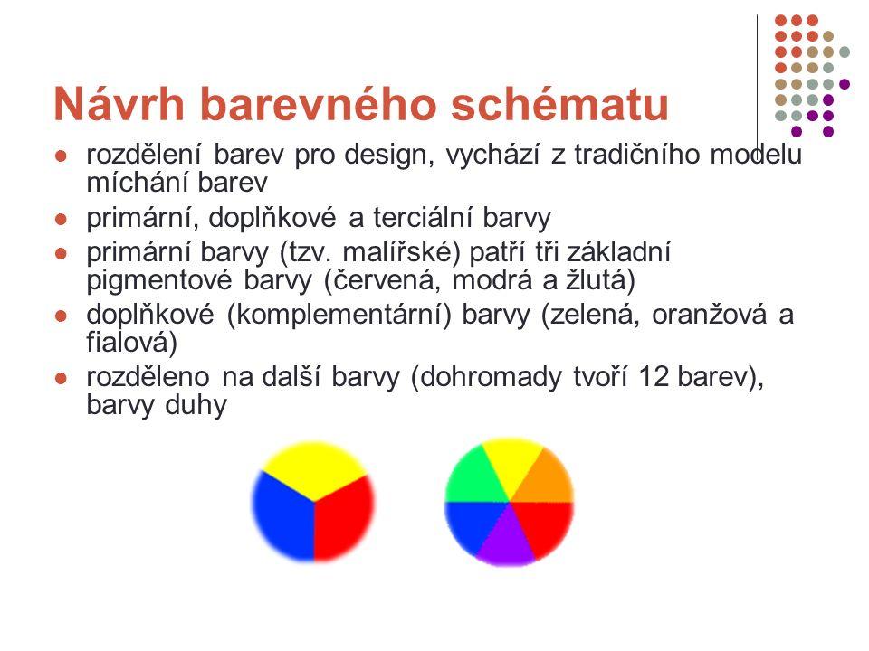 Návrh barevného schématu rozdělení barev pro design, vychází z tradičního modelu míchání barev primární, doplňkové a terciální barvy primární barvy (tzv.