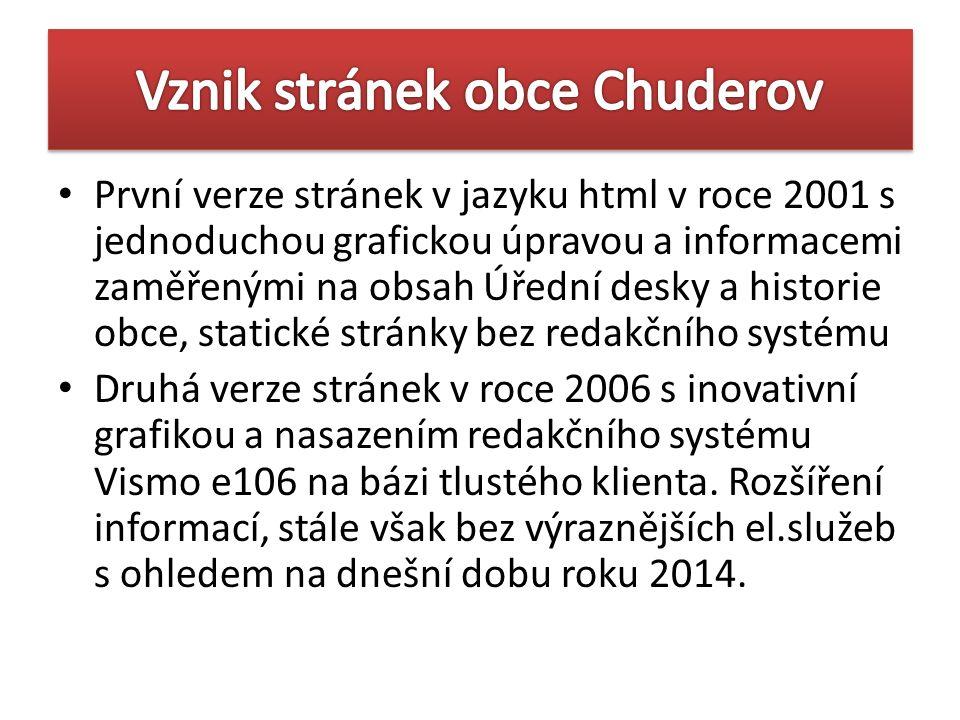 První verze stránek v jazyku html v roce 2001 s jednoduchou grafickou úpravou a informacemi zaměřenými na obsah Úřední desky a historie obce, statické