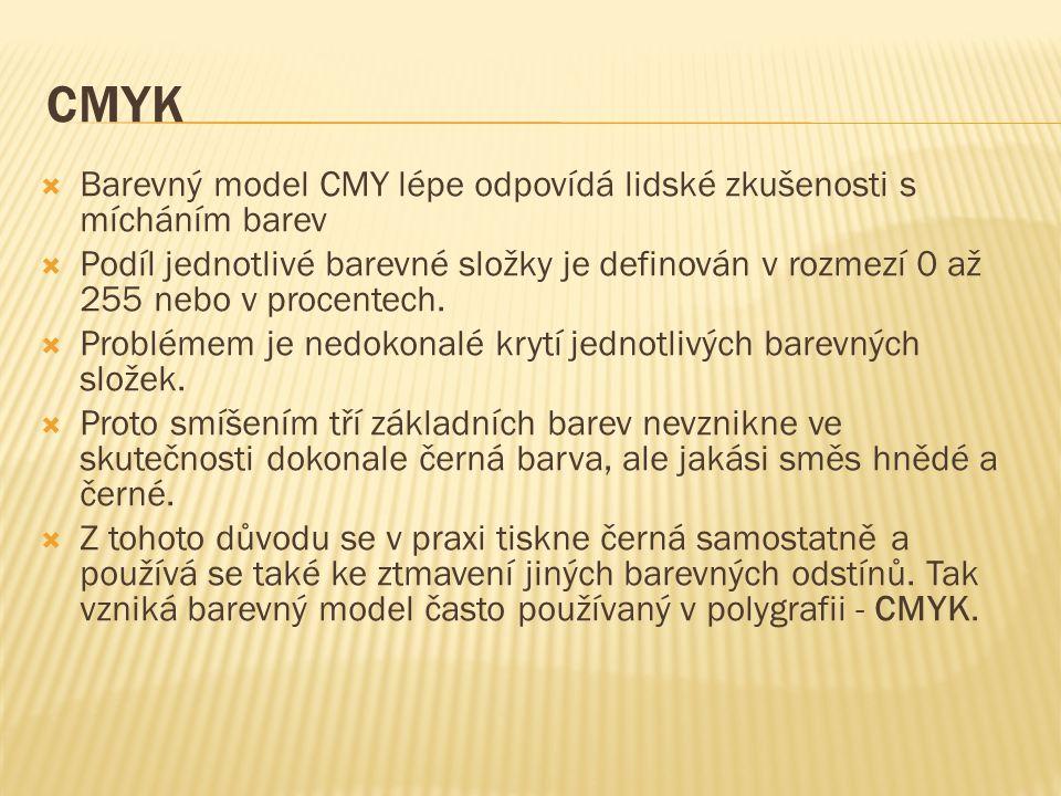 CMYK  Barevný model CMY lépe odpovídá lidské zkušenosti s mícháním barev  Podíl jednotlivé barevné složky je definován v rozmezí 0 až 255 nebo v procentech.