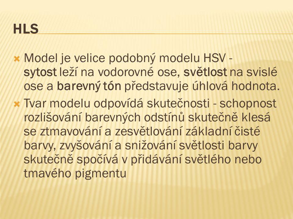 HLS  Model je velice podobný modelu HSV - sytost leží na vodorovné ose, světlost na svislé ose a barevný tón představuje úhlová hodnota.