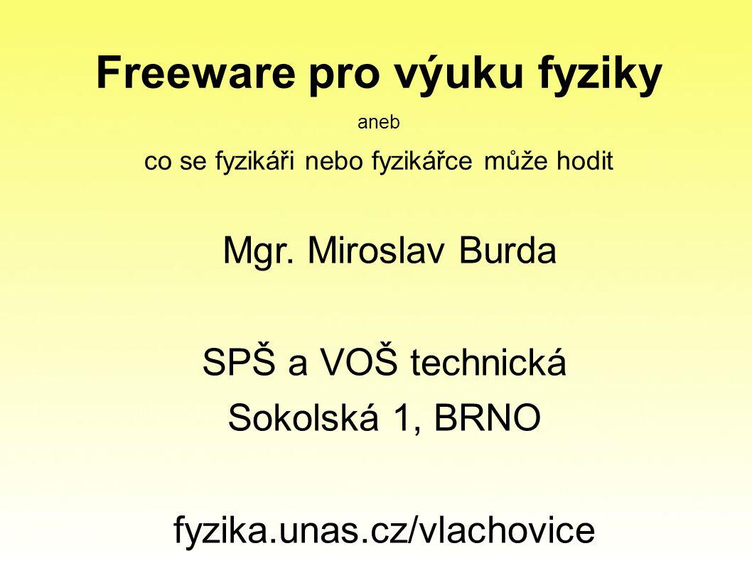 Freeware pro výuku fyziky aneb co se fyzikáři nebo fyzikářce může hodit Mgr.