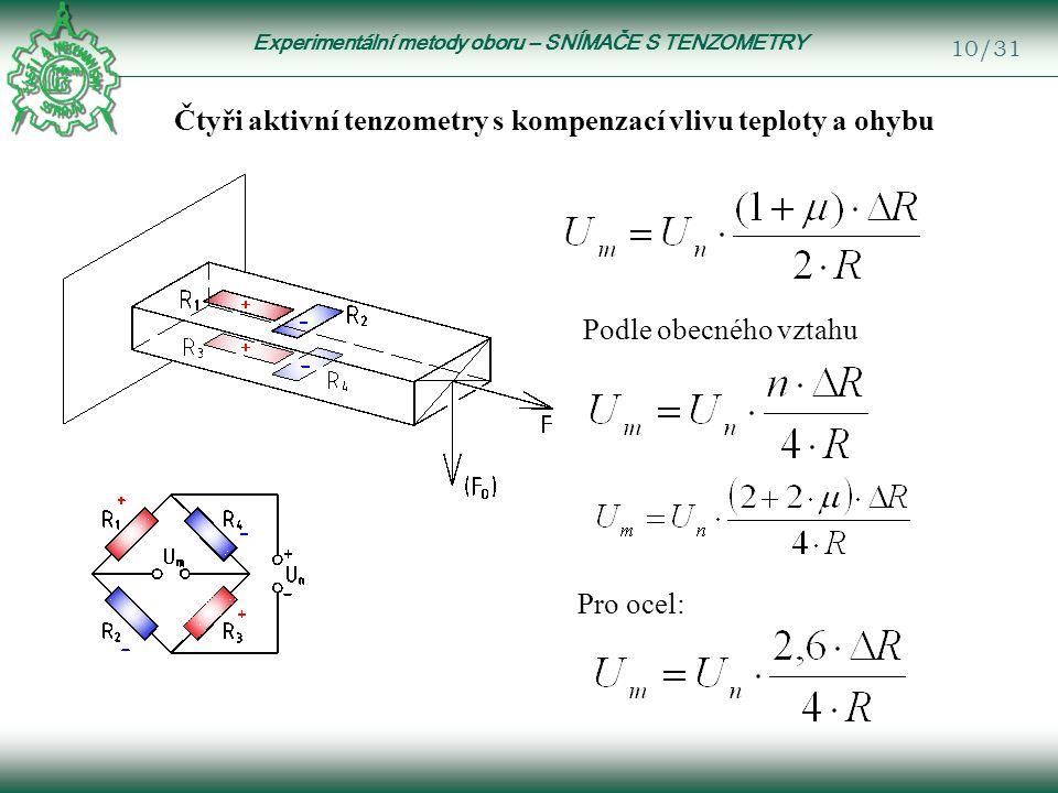 Experimentální metody oboru – SNÍMAČE S TENZOMETRY 10/31 Podle obecného vztahu Pro ocel: Čtyři aktivní tenzometry s kompenzací vlivu teploty a ohybu