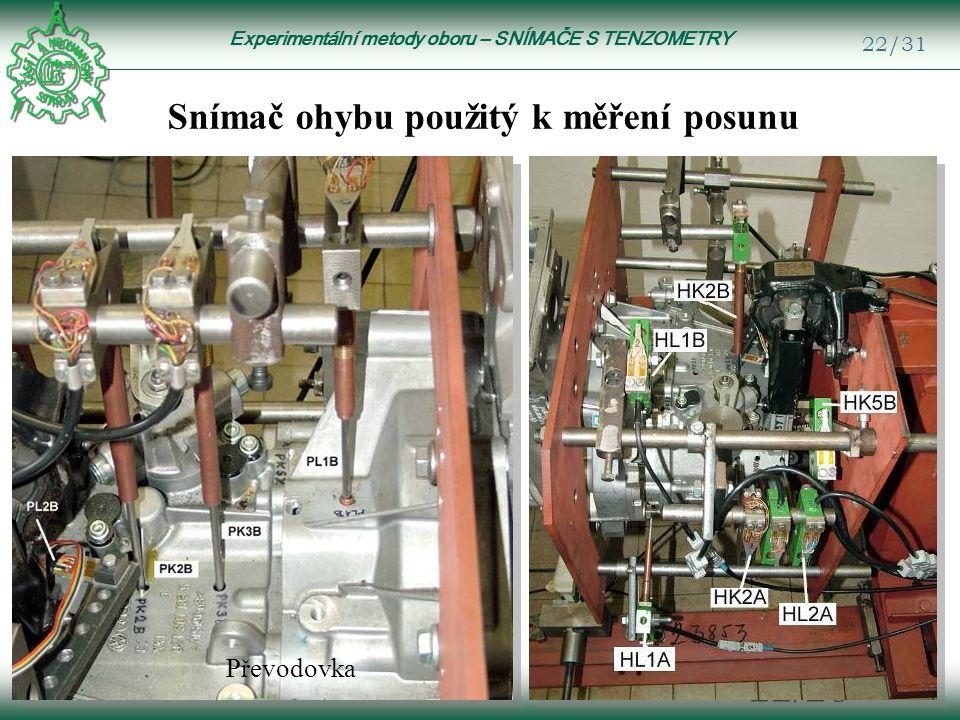 Experimentální metody oboru – SNÍMAČE S TENZOMETRY 22/31 22/28 Snímač ohybu použitý k měření posunu Převodovka