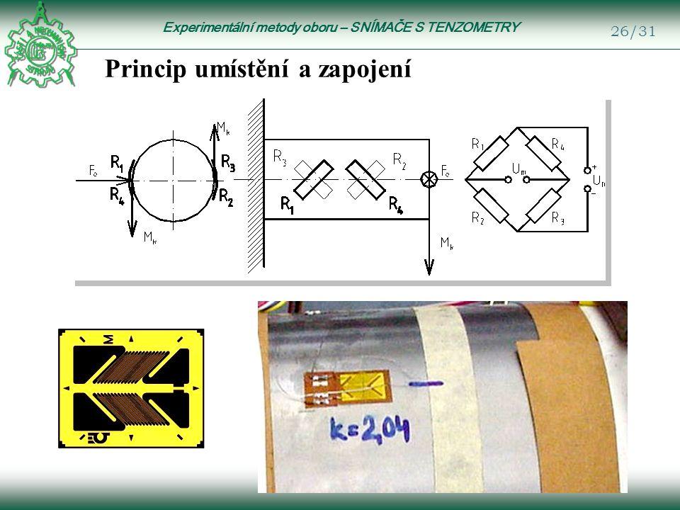 Experimentální metody oboru – SNÍMAČE S TENZOMETRY 26/31 Princip umístění a zapojení