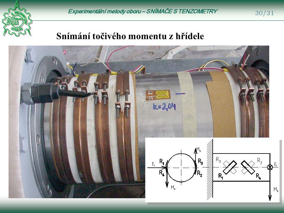 Experimentální metody oboru – SNÍMAČE S TENZOMETRY 30/31 Snímání točivého momentu z hřídele