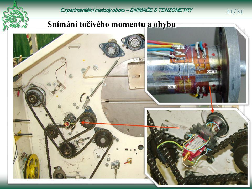 Experimentální metody oboru – SNÍMAČE S TENZOMETRY 31/31 Snímání točivého momentu a ohybu