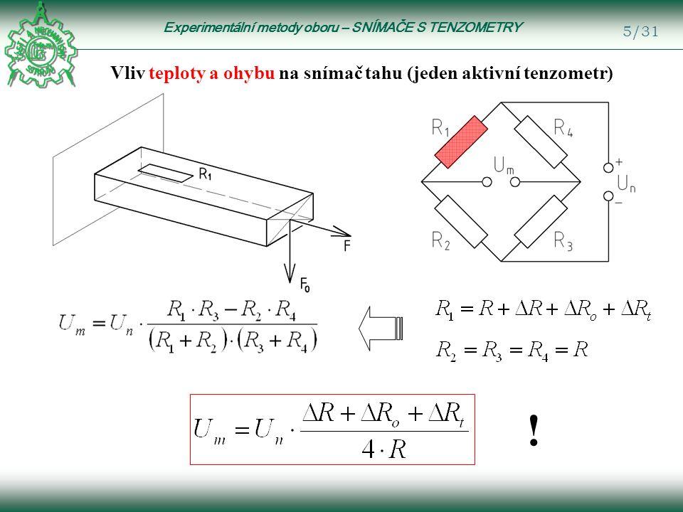 Experimentální metody oboru – SNÍMAČE S TENZOMETRY 6/31 Kompenzace změny teploty (aktivní + kompenzační tenzometr) Kompenzační tenzometr musí být: stejný jako aktivní; na stejném podkladu (materiál); umístěn do stejného teplotního pole.