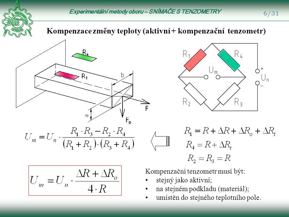 Experimentální metody oboru – SNÍMAČE S TENZOMETRY 17/31 Měření ohybu Jeden aktivní tenzometr Pozor.