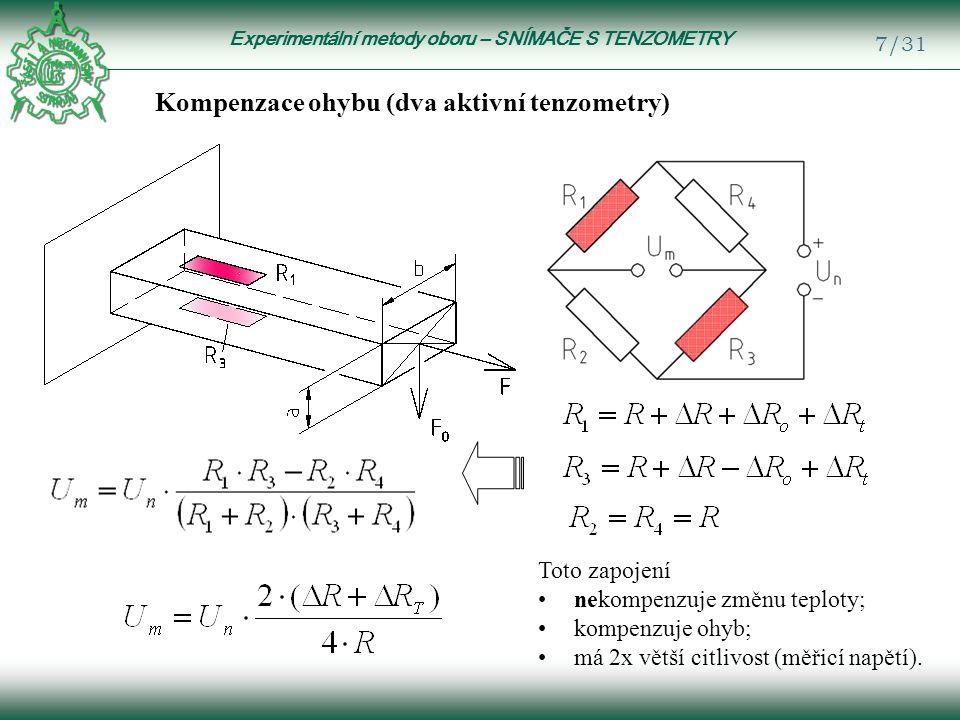 Experimentální metody oboru – SNÍMAČE S TENZOMETRY 28/31 Základní rovnice pro Wheatstonův můstek: jsou velmi malé a můžeme je zanedbat, získáme výsledný vztah: Po dosazení vztahů pro R 1 …R 4 a úpravě: Vliv teploty i ohybu se tímto zapojením vyloučí.