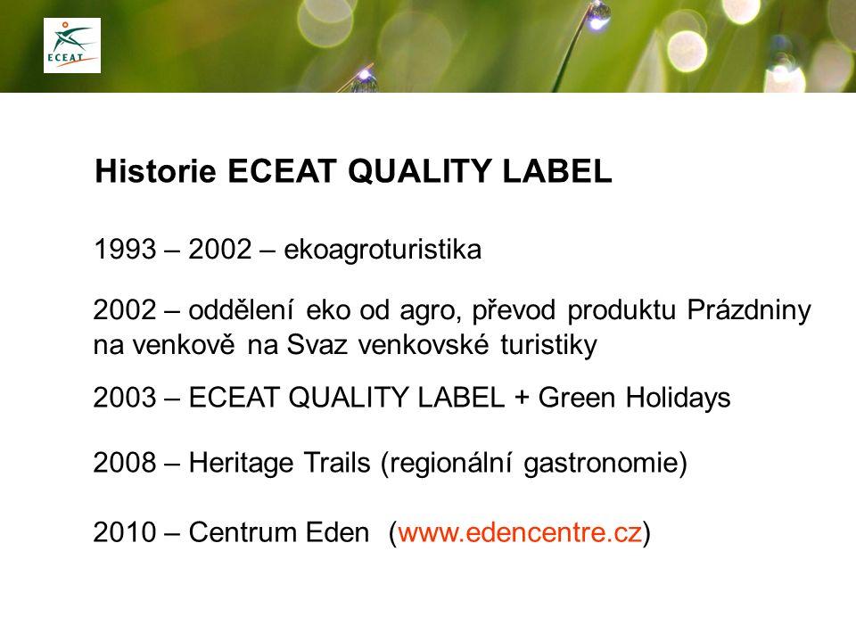 Historie ECEAT QUALITY LABEL 1993 – 2002 – ekoagroturistika 2003 – ECEAT QUALITY LABEL + Green Holidays 2002 – oddělení eko od agro, převod produktu P
