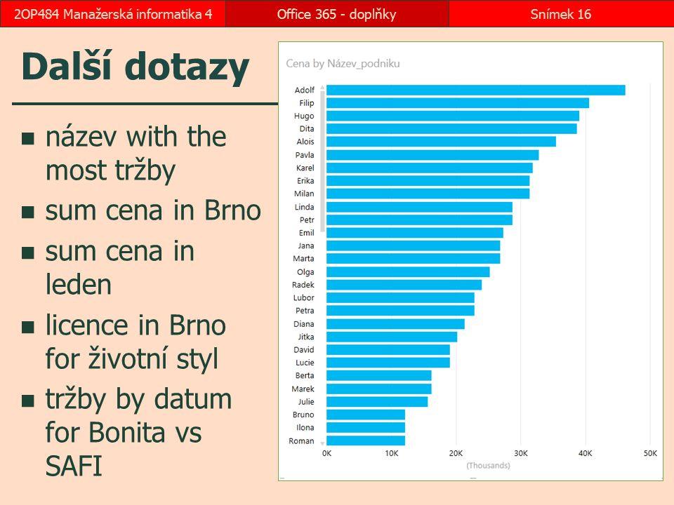 Další dotazy název with the most tržby sum cena in Brno sum cena in leden licence in Brno for životní styl tržby by datum for Bonita vs SAFI Office 36