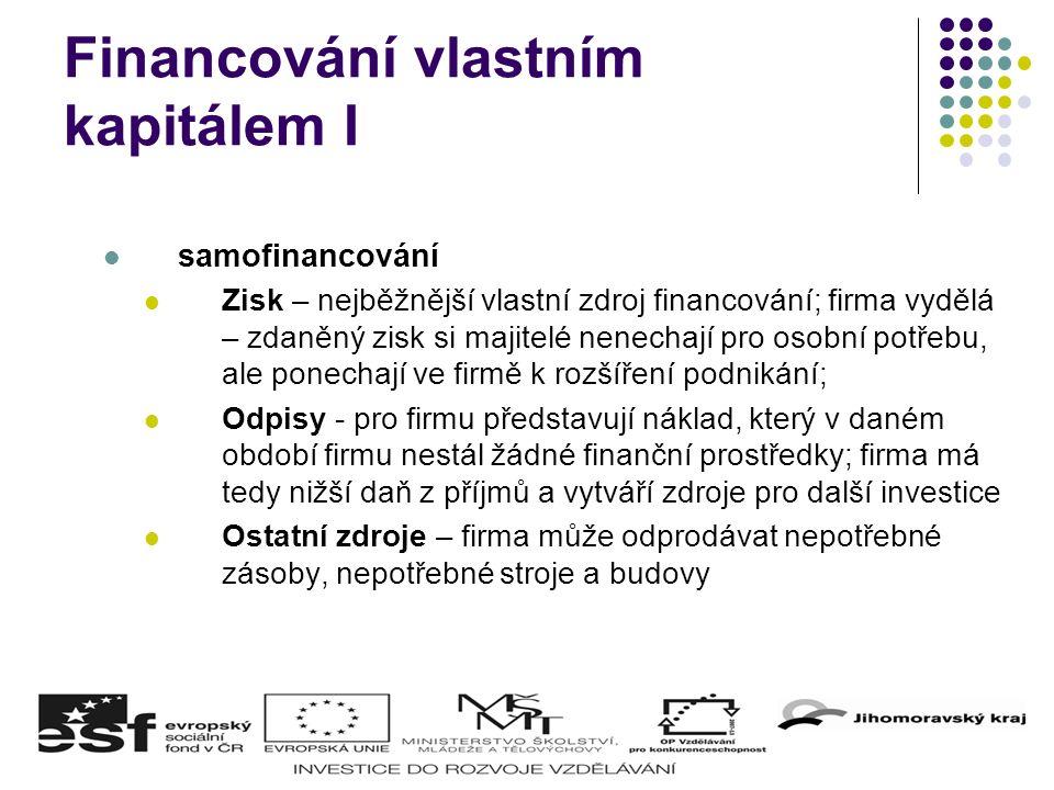 Financování vlastním kapitálem I samofinancování Zisk – nejběžnější vlastní zdroj financování; firma vydělá – zdaněný zisk si majitelé nenechají pro o