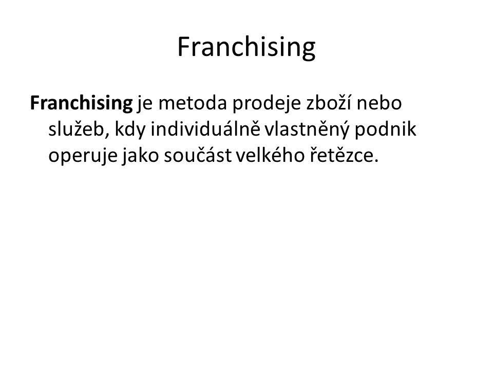 Franchising je metoda prodeje zboží nebo služeb, kdy individuálně vlastněný podnik operuje jako součást velkého řetězce.