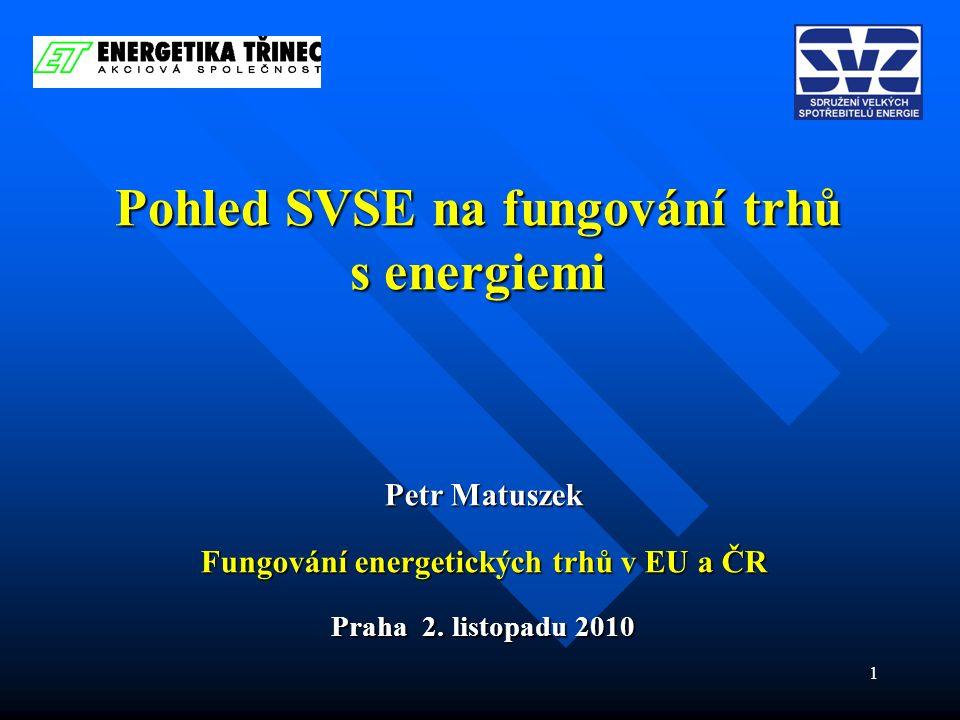 1 Pohled SVSE na fungování trhů s energiemi Petr Matuszek Fungování energetických trhů v EU a ČR Praha 2.