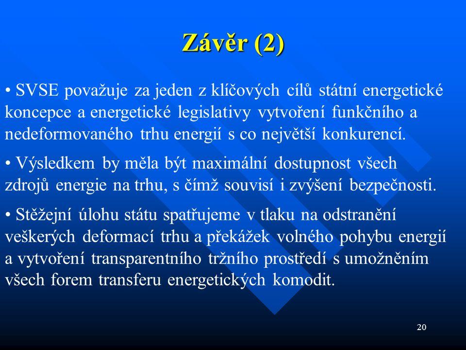 20 Závěr (2) SVSE považuje za jeden z klíčových cílů státní energetické koncepce a energetické legislativy vytvoření funkčního a nedeformovaného trhu energií s co největší konkurencí.