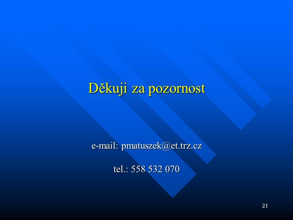 21 Děkuji za pozornost e-mail: pmatuszek@et.trz.cz tel.: 558 532 070