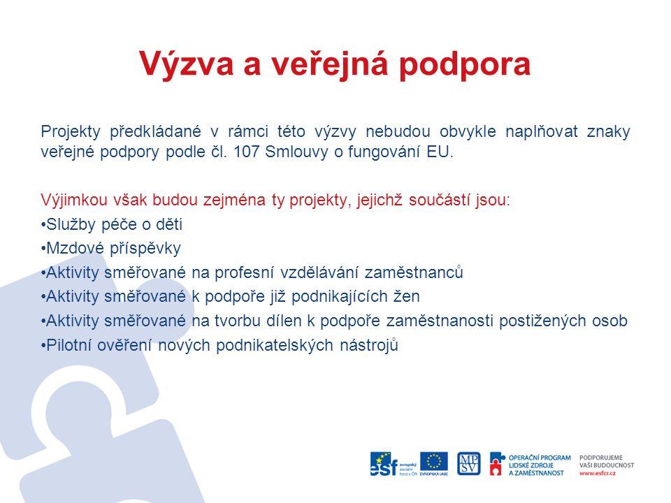 Výzva a veřejná podpora Projekty předkládané v rámci této výzvy nebudou obvykle naplňovat znaky veřejné podpory podle čl.