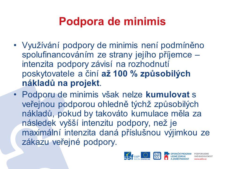 Podpora de minimis Využívání podpory de minimis není podmíněno spolufinancováním ze strany jejího příjemce – intenzita podpory závisí na rozhodnutí poskytovatele a činí až 100 % způsobilých nákladů na projekt.