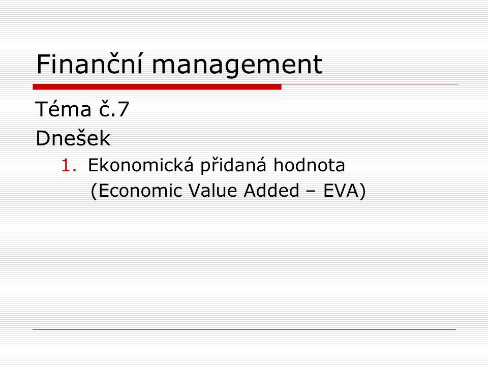 Finanční management Téma č.7 Dnešek 1.Ekonomická přidaná hodnota (Economic Value Added – EVA)