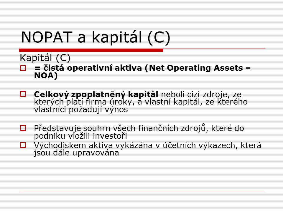NOPAT a kapitál (C) Kapitál (C)  = čistá operativní aktiva (Net Operating Assets – NOA)  Celkový zpoplatněný kapitál neboli cizí zdroje, ze kterých platí firma úroky, a vlastní kapitál, ze kterého vlastníci požadují výnos  Představuje souhrn všech finančních zdrojů, které do podniku vložili investoři  Východiskem aktiva vykázána v účetních výkazech, která jsou dále upravována