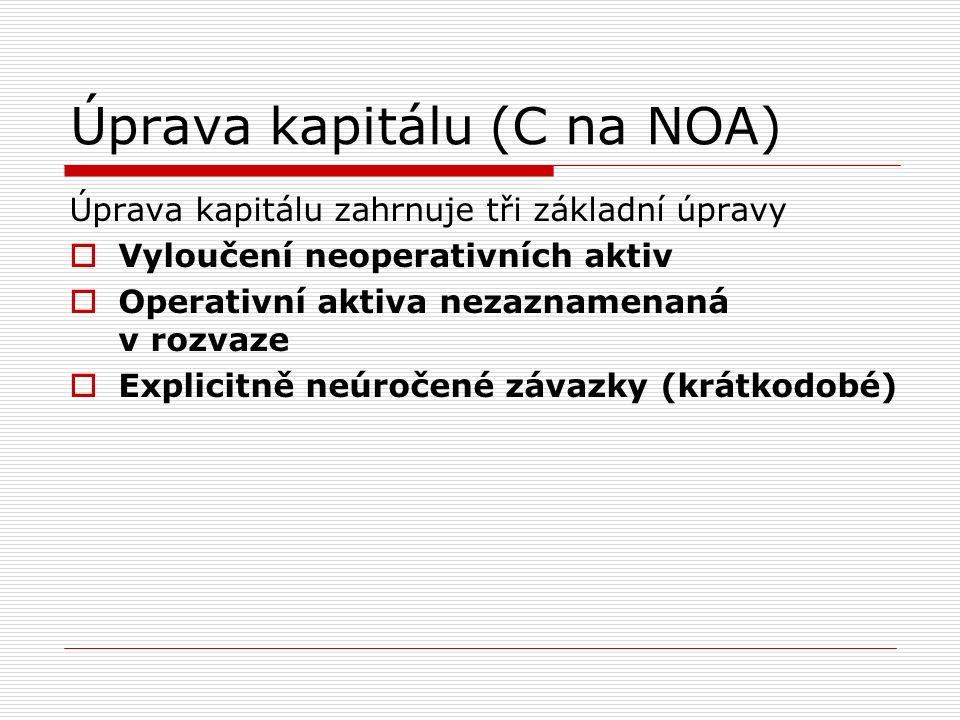 Úprava kapitálu (C na NOA) Úprava kapitálu zahrnuje tři základní úpravy  Vyloučení neoperativních aktiv  Operativní aktiva nezaznamenaná v rozvaze  Explicitně neúročené závazky (krátkodobé)